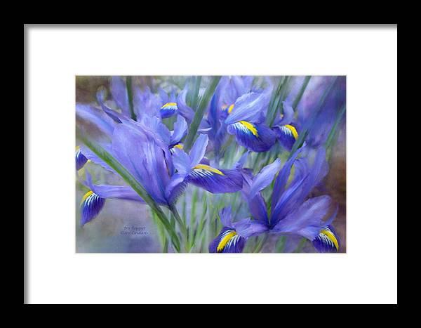 Iris Framed Print featuring the mixed media Iris Bouquet by Carol Cavalaris