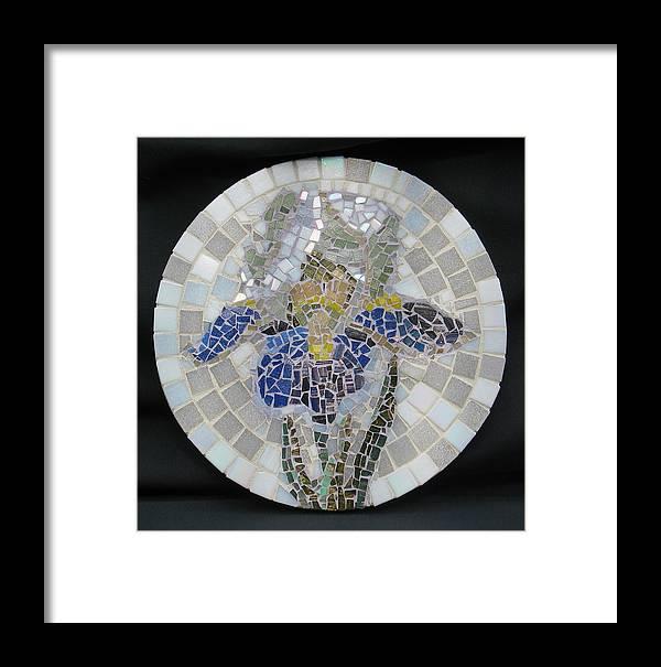 Mosaic Framed Print featuring the mixed media Iris by Deborah Hildinger