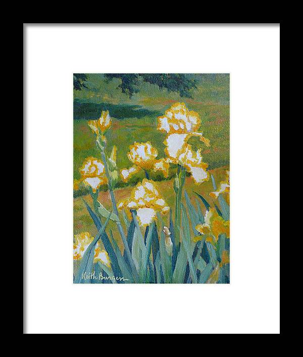 Impressionism Framed Print featuring the painting Iris Etude by Keith Burgess