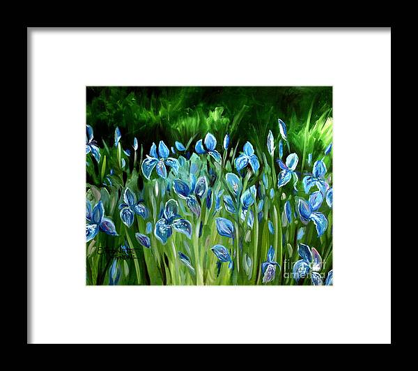 Flowers Framed Print featuring the painting Iris Galore by Elizabeth Robinette Tyndall