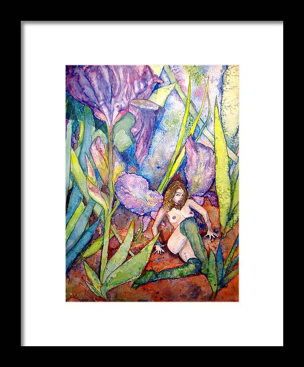 Faerie Framed Print featuring the painting Iris Grantor Of Hope Wisdom And Inspiration - Watercolor by Donna Hanna