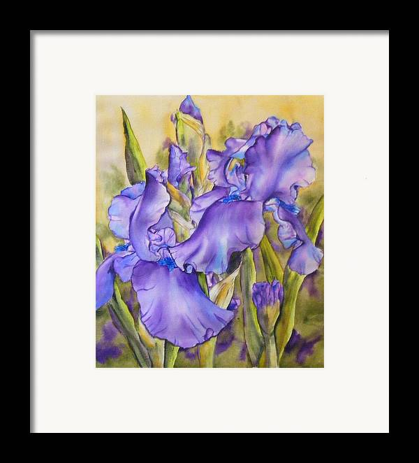 Framed Print featuring the painting Iris In Purple by Diane Ziemski