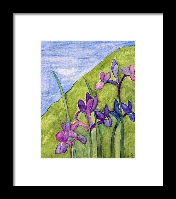 Flowers Framed Print featuring the painting Iris Meadow by Margie Byrne