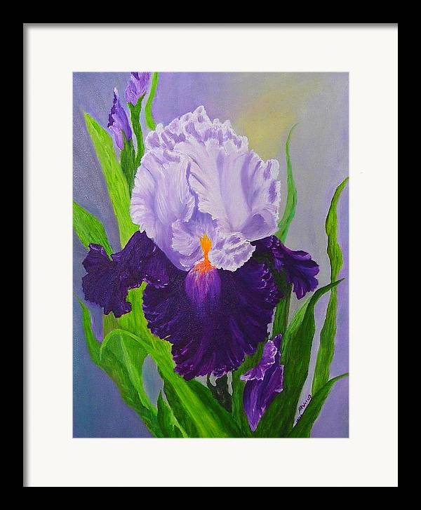 Floral Painting Framed Print featuring the painting Iris by Peggy Holcroft