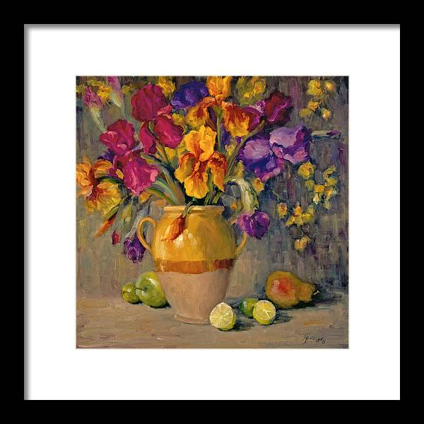 Still Life Framed Print featuring the painting Iris Rhapsody by Bunny Oliver