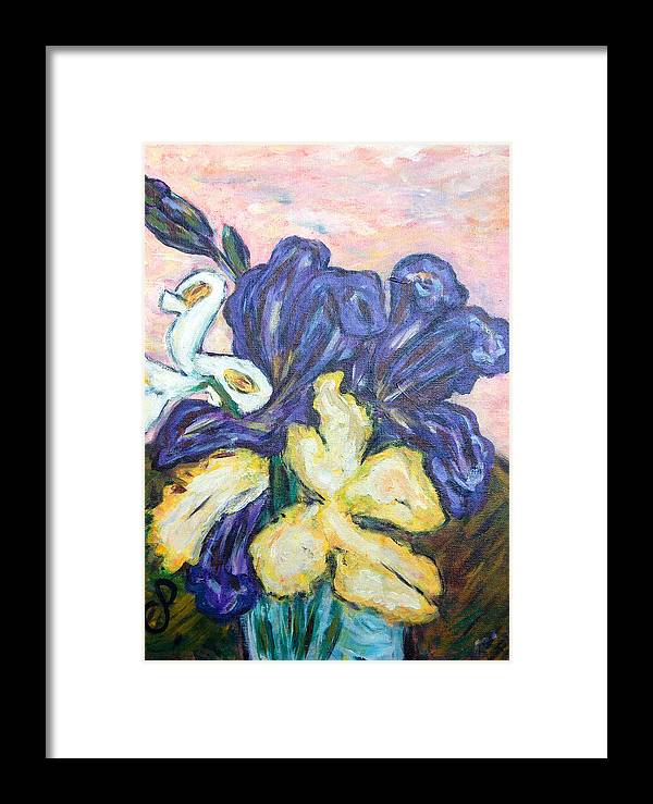 Iris Framed Print featuring the painting Iris Still Life by Carolyn Donnell