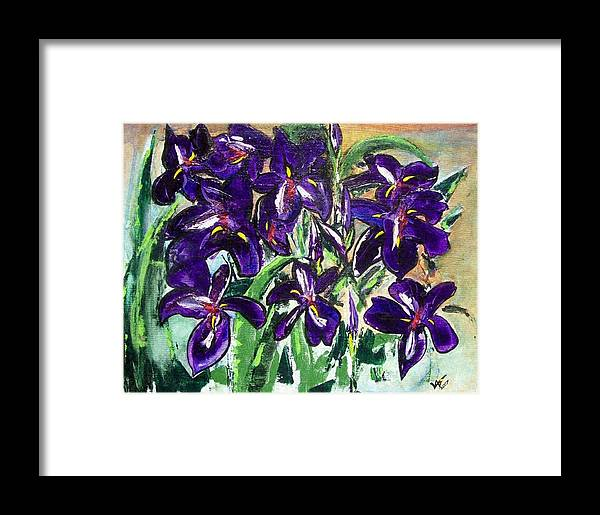 Iris Framed Print featuring the painting Iris by Valerie Wolf