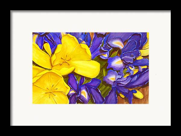 Watercolor Framed Print featuring the painting Iris Withtulip by Robert Thomaston