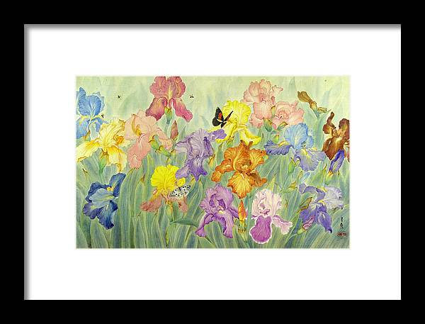 Flower Framed Print featuring the painting Iris by Ying Wong