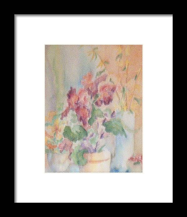 Watercolor Framed Print featuring the painting Irises And Company by Sheri Hubbard