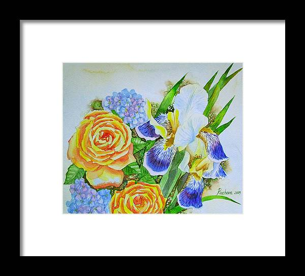 Roses Framed Print featuring the painting Irises And Rores. by Natalia Piacheva