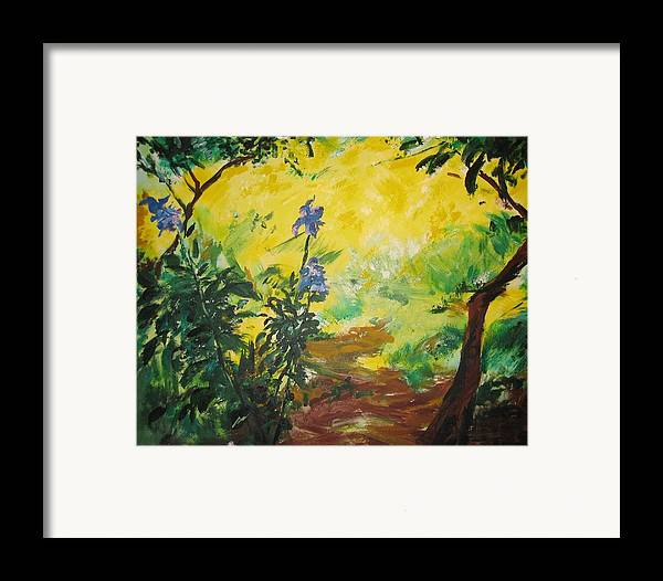 Sunlight Framed Print featuring the painting Irises And Sunlight by Lizzy Forrester