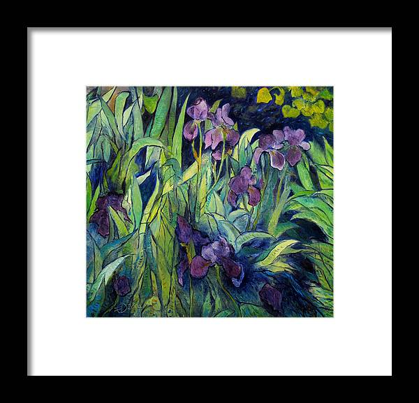 Irises Provence. Impressionism. Enver Larney. F Framed Print featuring the painting Irises at high altitude Auribeau France 2004  by Enver Larney