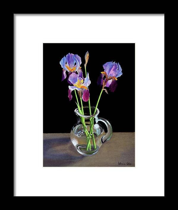 Iris Framed Print featuring the pastel Irises In A Glass Pitcher by Rebecca Giles