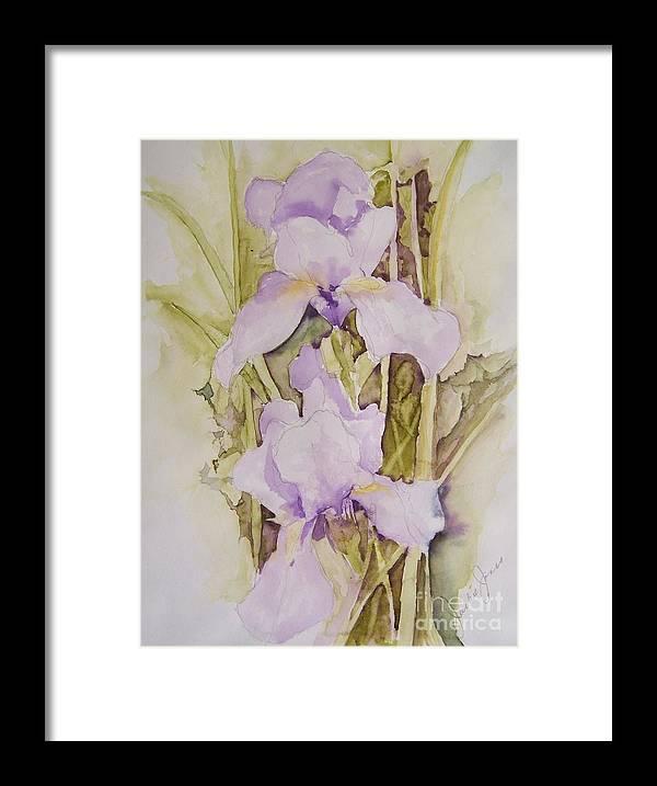 Irises Framed Print featuring the painting Irises by Jackie Mueller-Jones