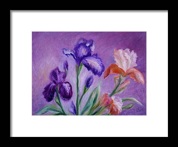 Flowers Framed Print featuring the painting Irises by Natalie Maro