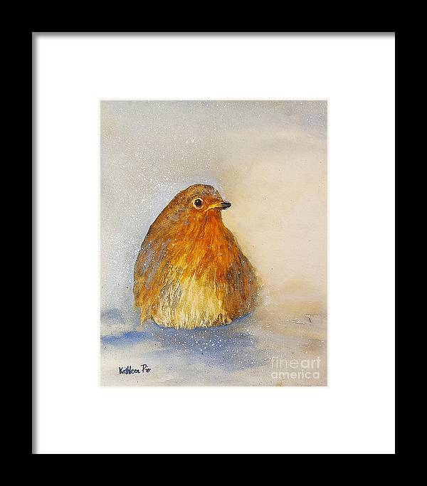 Irish Robin Framed Print featuring the painting Irish Robin In The Snow by Kathleen Pio