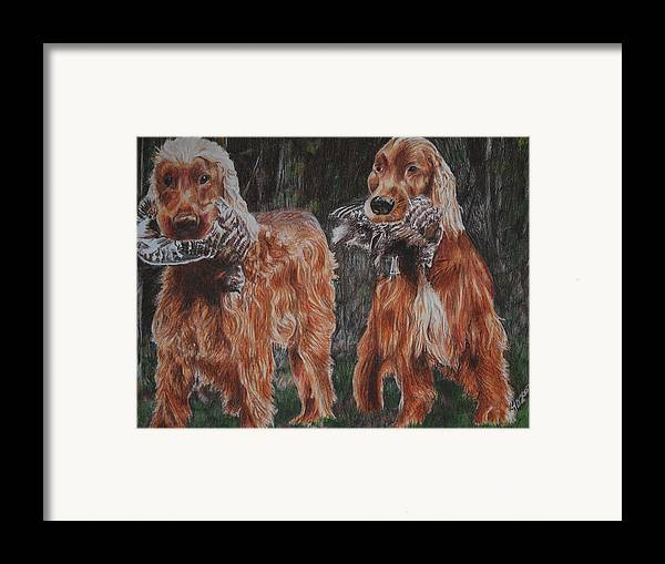 Dogs Framed Print featuring the drawing Irish Setters by Darcie Duranceau