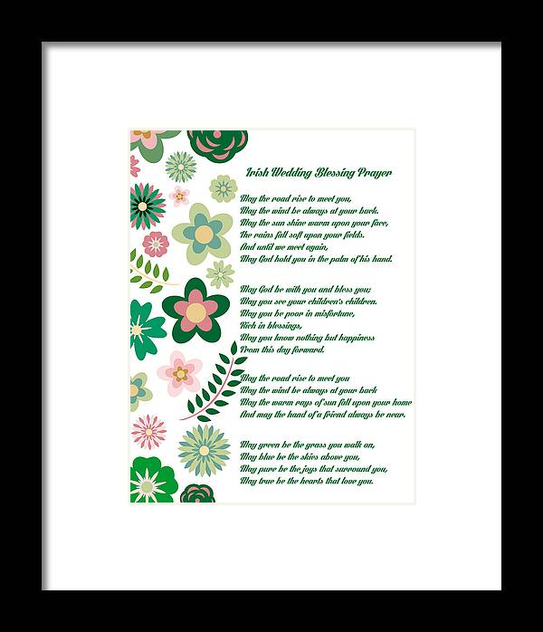 Irish Wedding Blessing Prayer Framed Print by Celestial Images
