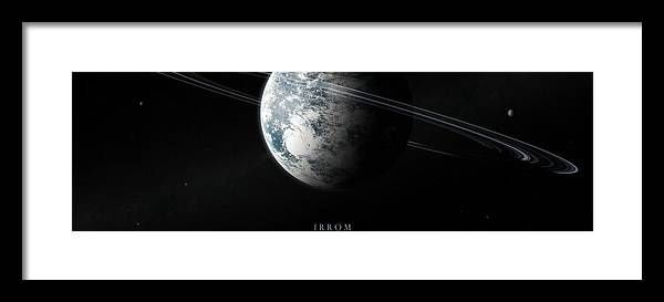 Irrom Space Planets Moons Stars 000 0x1200 Framed Print featuring the digital art Irrom Space Planets Moons Stars 100200 3840x1200 by Mery Moon
