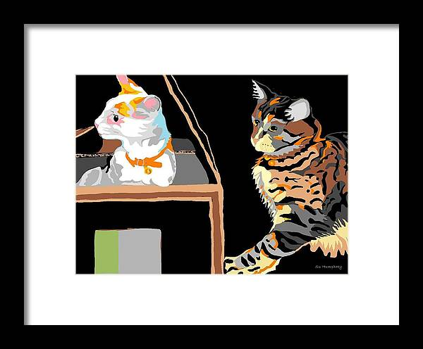 Two Cats Framed Print featuring the digital art Is Someone Coming by Su Humphrey