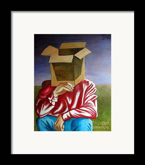 Identity (symbolic Art) Framed Print featuring the painting Is The Self Just An Empty Box by Tanni Koens