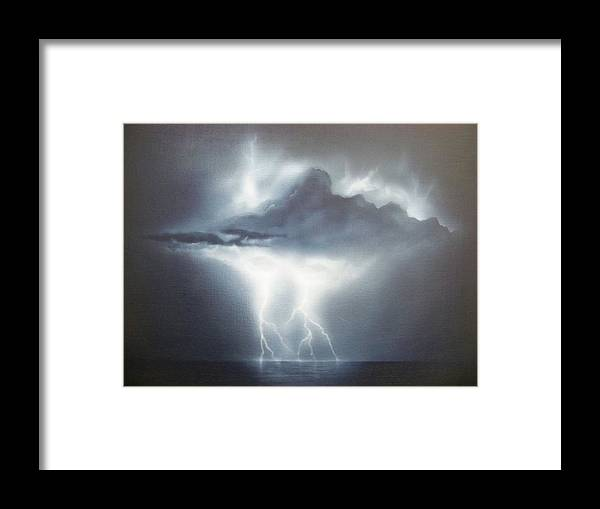 Seascape Framed Print featuring the painting Is The Sky The Limit by Brett McGrath