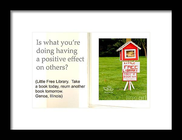 Helping Others Framed Print featuring the photograph Is What You're Doing by Beauty For God