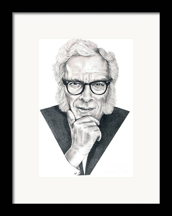 Portrait Framed Print featuring the drawing Isaac Asimov by Murphy Elliott