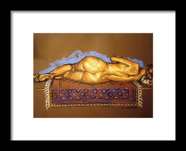 Nude Framed Print featuring the painting Isabel On Afghan Carpet- Back by Paul Herman