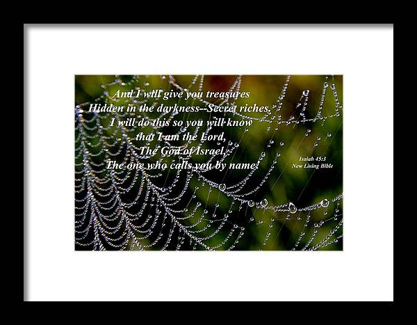 Isaiah Framed Print featuring the photograph Isaiah Scripture by JerryAnn Berry