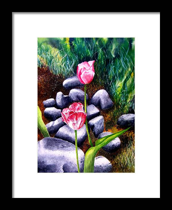 Tulips Framed Print featuring the print Isaiah's Tulips by JoLyn Holladay