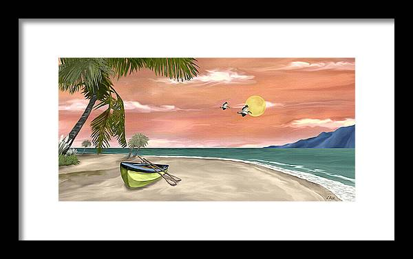 Tropical Island Boat Sunset Palms Seascape Gordon Beck Art Framed Print featuring the painting Island Boat by Gordon Beck