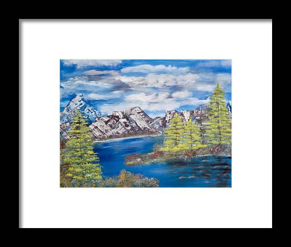 Wooded Landscape Framed Print featuring the painting Island Cove by Mikki Alhart