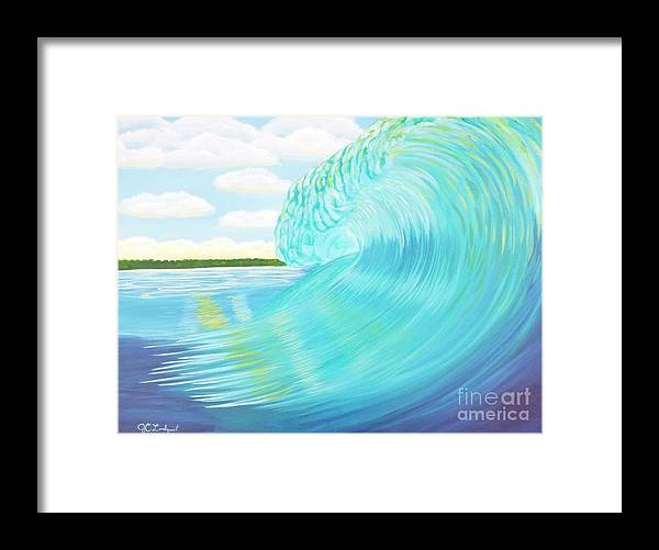 Ocean Framed Print featuring the painting Island Curl - Left by Jenn C Lindquist