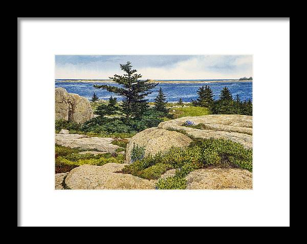Seascape Framed Print featuring the painting Island Harebells by Tom Wooldridge