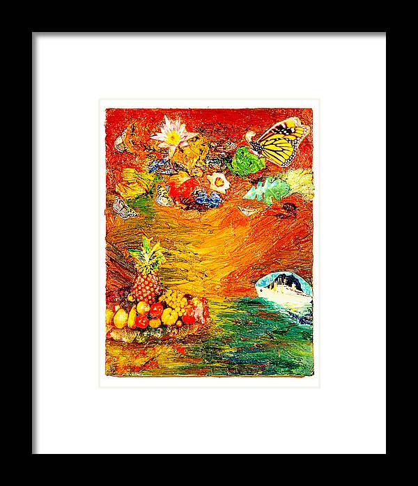 Collage Framed Print featuring the painting Island by Howard Goldberg