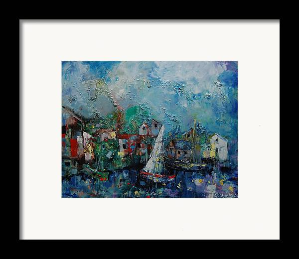 Landscape Framed Print featuring the painting Island Of Dreams by Sari Haapaniemi