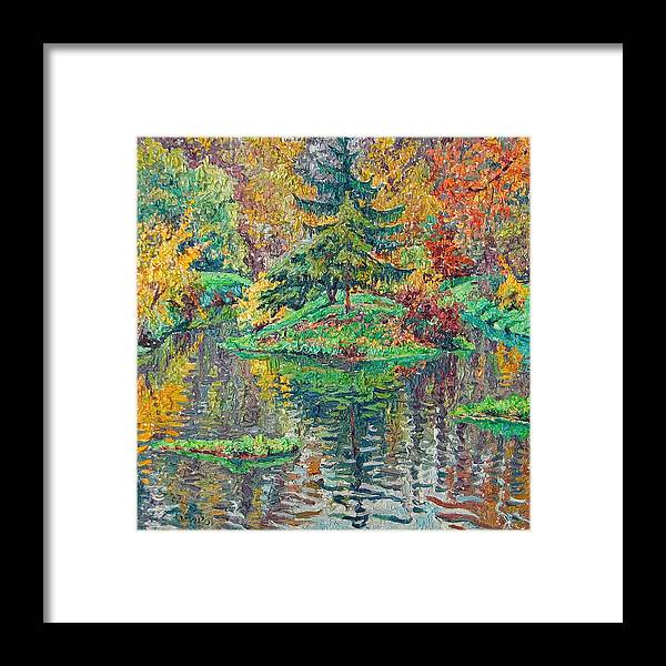 Landscape Framed Print featuring the painting Island on the park pond by Vitali Komarov
