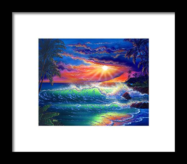 Seascape Framed Print featuring the painting Island Paradise by Angie Hamlin