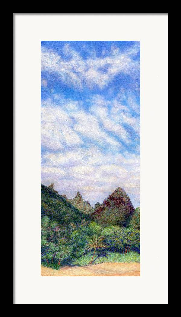 Coastal Decor Framed Print featuring the painting Island Sky by Kenneth Grzesik
