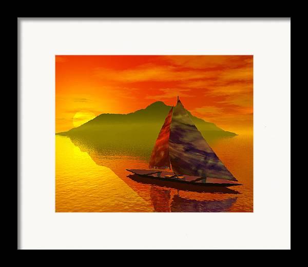 Boat Framed Print featuring the digital art Islandside by Adam Wells