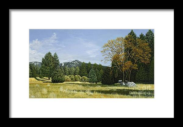 Landscape Framed Print featuring the painting Isomata Meadow by Jiji Lee