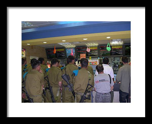 Israel Framed Print featuring the photograph Israeli Soldiers Stop At A Kosher Mcdonald's by Susan Heller