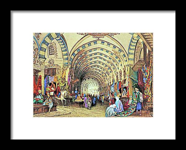 Constantinople Framed Print featuring the painting Istanbul Old Market by Munir Alawi