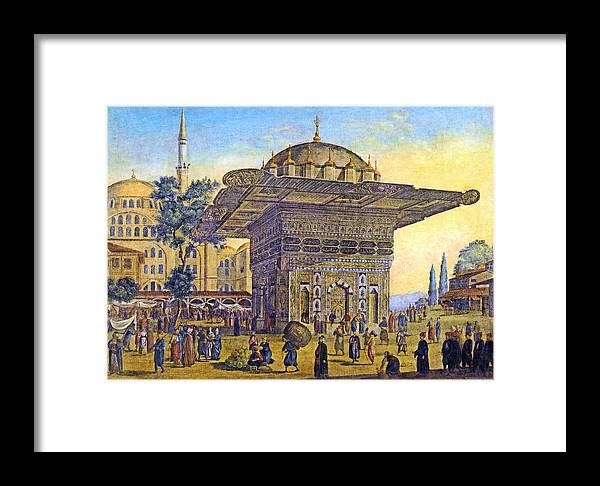 Constantinople Framed Print featuring the painting Istanbul Outdoor Bazaar by Munir Alawi