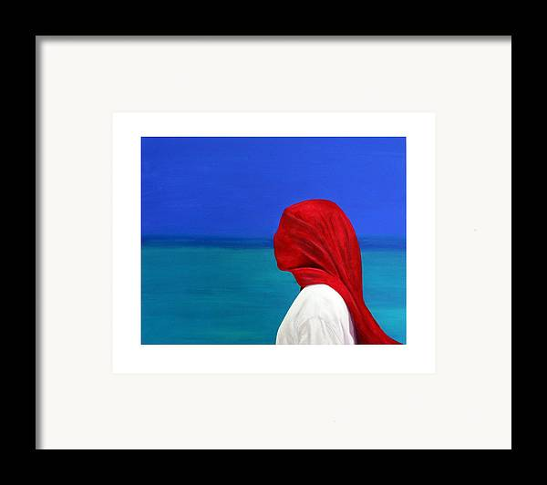 Red Framed Print featuring the painting It Could Be You by Fiona Jack