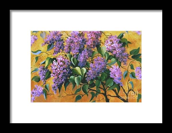 Flovers Framed Print featuring the painting It Is Lilac Time 2 by Marta Styk