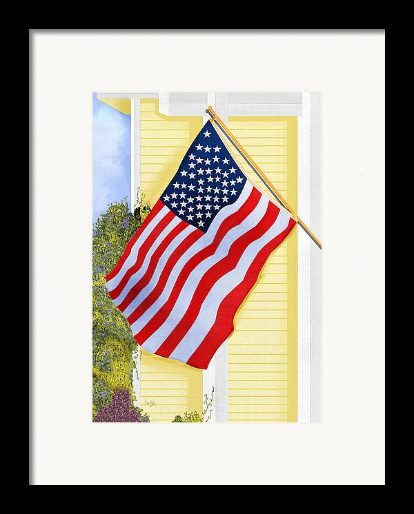 U.s. Flag Framed Print featuring the painting It Will Fly Until They All Come Home by Anne Norskog