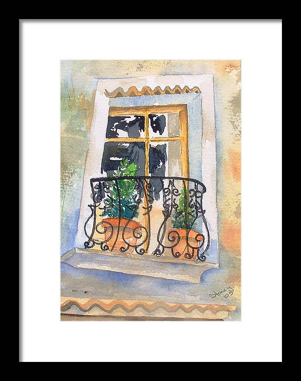 Window Framed Print featuring the painting Italian Balcony by Sandi Stonebraker